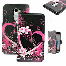 Purple Heart Fold Leather Flip Book Style Phone Wallet GEL Case Cover For LG G3