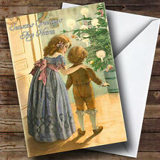 Two Children Vintage Traditional Personalised Christmas Card
