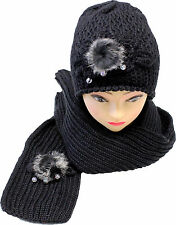 Lady Womens Winter Knit Scarf & Hat Beanie Flower Pearl Set Warm Scarves New