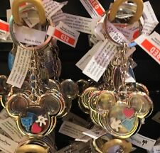 Disney Parks Mickey Mouse Ear Shaped Metal Keyring Keychain w/ Charms New