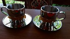Stainless Steel 18/10 Coffee Expresso Cups with Saucers set of 2