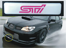 SUBARU IMPREZA STI V-LTD FRONT LIP SPLITTER BADGE WHITE AND PINK STI LOGO