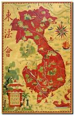"Vintage Old World Map Vietnam Indochina CANVAS PRINT poster 24""X16"""