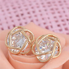 Hollow Flower Jewelry 18K Gold Plated White Cubic Zirconia Stud Earring For Lady