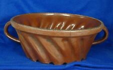 REDWARE Stoneware Bunt Cake Pudding Baking Mold with Handles Pennsylvania