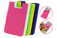 (Two) Cell phone stick on wallet card holder phone pocket for iPhone, Android