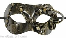 New Steampunk Style Half Face Masquerade Mask Bronze Vintage Gold SPM004BR NEW