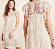Anthropologie Maeve Eyelet Crochet Cotton Lace Ivory Tunic Dress. Small  $168.00