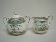VINTAGE ROYAL ALBERT SILVER BIRCH COVERED SUGAR BOWL & CREAMER
