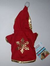 NWT Martha Stewart Pets Snowflake Dog Hoodie Fleece Red Gold - Extra Small XS