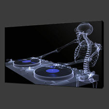 SKELETON DJ BLUE FUNKY CANVAS WALL ART PICTURES PRINTS 30 X 20 Inch WALL ART