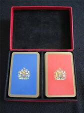 RED LEATHER PLAYING CARD BOX & 2 PACKS of PLAYING CARDS - ROYAL COAT of ARMS