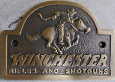 Winchester Rifles and Shotguns rider solid brass sign plaque