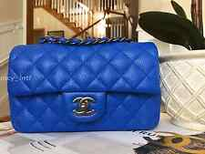 NEW 2016 CHANEL COBALT BLUE CAVIAR NEW MINI CLASSIC FLAP BAG RARE AND SOLD OUT!