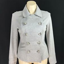 CABI Large jacket light heather gray military double button sweatshirt stretch