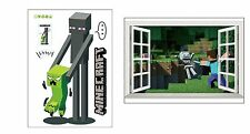 Minecraft Wall Cling Decals Stickers Kids Decor 3D Art Toy Room Decals 2 Pack