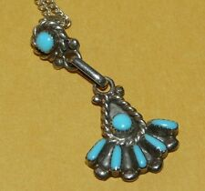 VTG~NATIVE~NAVAJO~STERLING~SILVER~PETIT & NEEDLEPOINT~TURQUOISE~PENDANT~NECKLACE