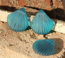 2 pcs~Sea Glass LARGE Clam Shell Pendant Beads~TEAL ( 29x27mm)~ 2 pcs.
