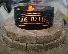 Metal Live to Ride Fire Ring  Made in the USA, Harley, Motorcycle V-Twin