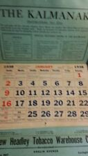 Vintage HEADLEY TOBACCO CO LEXINGTON KY ALMANAC CALENDAR 1938 Good Used