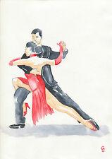 G.Schmidt 20x30 Impresión Acuarela Pareja Bailarines Tango Dibujo Arte Pintura