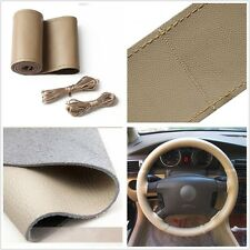 Hot New Beige DIY Artificial Leather Decor Steering Wheel Cover Needles&Thread A