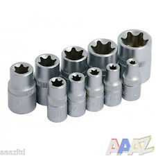 "10PC Star Socket Set Y Riel E 1/4"" 3/8"" unidad Hembra Torx Torque con carril"