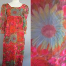 VINTAGE 70s MOD Dress HIPPIE RED POPPY SHEER CHIFFON LONG HOSTESS GOWN XS/Sm