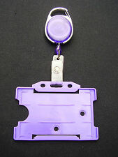 Purple Retractable Belt Clip Reel+Police/Security SIA ID Pass Card/Badge Holder