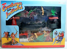 TOYLAND VTG 70's COWBOYS & INDIANS TOY SOLDIERS SET w/ ACCESSORIES SCENERY MISP