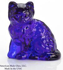 Cobalt Blue Solid Glass Fluffy Kitten Cat Figurine - Mosser