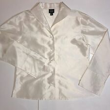Eileen Fisher 100% Silk Long Sleeve Button Up Blouse Pearl White Women's Small C