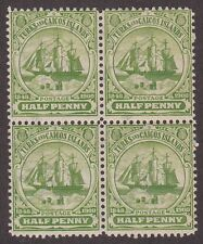 KAPPYSSTAMPS ID7566 TURKS & CAICOS #1 BK/4 NH NEVER HINGED BLOCK