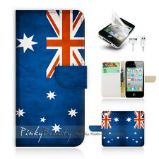 iPhone 4 4S Print Flip Wallet Case Cover! Australia OZ Flag P0012