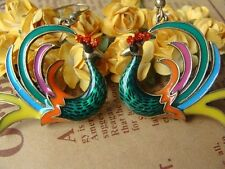 NEW Retro Betsey Johnson Beautiful Drip Peacock Crystal Alloy Earrings BJEA024