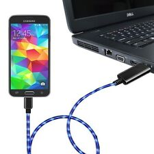 2.6' Visible Green Charge & Sync Micro USB 2.0 Cable w/Purple EL Lights (Black/P