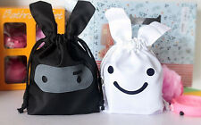 Cute Lunch Picnic Tote Travel Gift Bag Drawstring Pouch Cosmetic  Rabbit BLACK