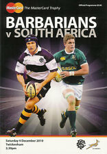 BARBARIANS v SOUTH AFRICA 4 Dec 2012 RUGBY PROGRAMME at TWICKENHAM