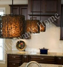 Twisted Woven Rattan Wicker MINI Chandelier HORCHOW Hanging Light Pendant Shade