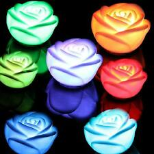 Rose Flower Changing Colors LED Lamp Candle Lights Night Home Room Decoration H