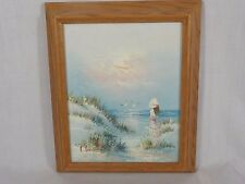 VIntage Oil Painting Seascape Beach Signed Professionally Framed