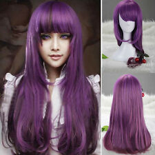 Womens Long Wavy Curly Purple Lolita Hair Anime Full Wigs Cosplay Party Costume