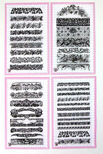 Lot of 4 sets FLONZ clear stamps acrylic 48 // Floral Baroque Laces Borders