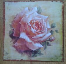 Shabby Metal Wall Plaque Vintage Style Pink Rose 30cm