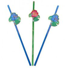 Straws with Flowers 24cm Plastic Assorted colours 2 packs of 8