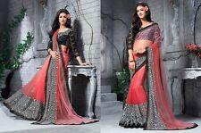 Sequince Cut Lace Border Saree In Hot &Pink & Black & White Colour & Georgette