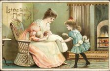 Mother w/ New Baby - Older Sister Wants to Help c1910 Postcard