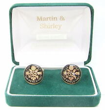 1967 Sixpence cufflinks from real coins in Black & Gold