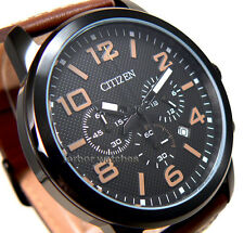 CITIZEN MEN CHRONOGRAPH BLACK ION COATED  LEATHER BAND 100m AN8055-06E cg
