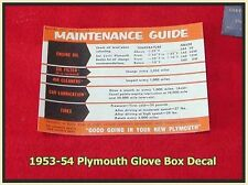 1953-1954 Plymouth New Glove Box Guide Decal Belvedere Cranbrook Suburban Wagon